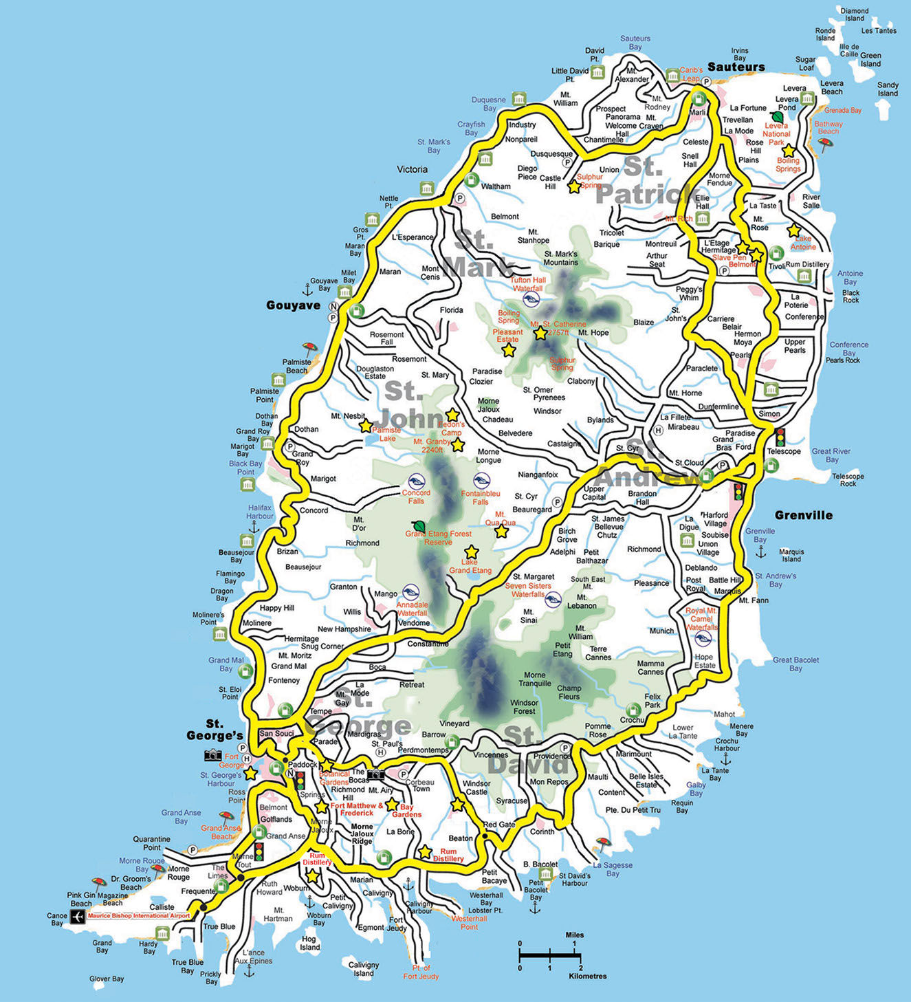 Grenada Map Map of Grenada Interactive Road Map with parishes